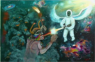 A Divine Soul Battling An Evil Spirit, Wen Young, 24x36 Acrylic
