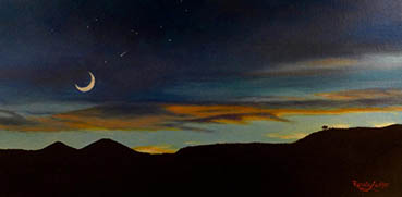 Ascending Moon & Falling Star, Renate Lichter, 10x20 Oil $1,800