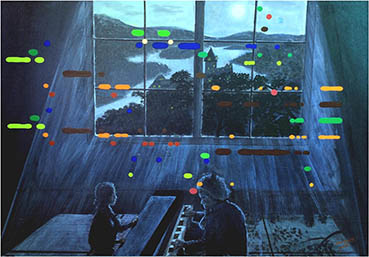 Beethoven's Moonlight Sonata Painting with Keyboard, Wen Young, 24x36 Acrylic