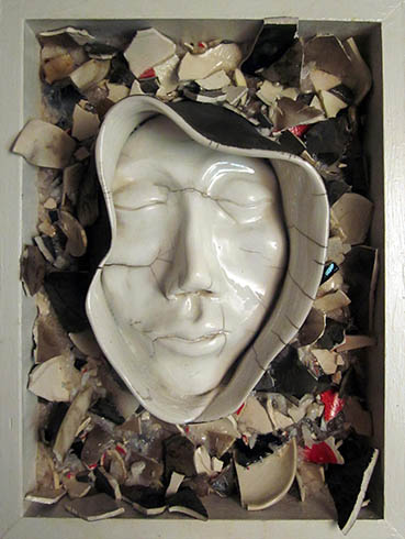 Cracked Cloak, Ruth Petersen Shorer, 12x16x4 clay, stone, wood,paint $1,200