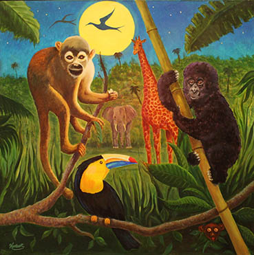 jungle nights, Walter Hurlburt, 30x40 Oil $2,500