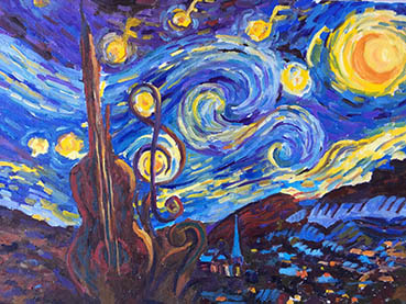 Musical Starry Night, Rosina Maize, 12x16 Oil $550