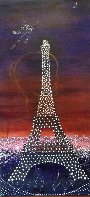 Night Flight to Paris, Harriette Kahn, 36x18 Acrylic $375