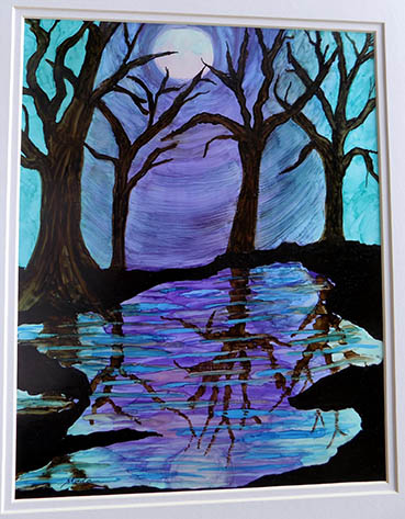 Night Reflections, Meda Lubliner, 11x14 ink on Yupo $225