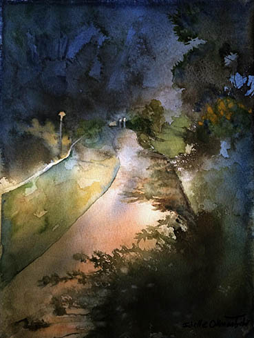 Night Walk, Idelle Okman Tyzbir, 9x12 Watercolor