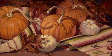Pumpkins and Leaves, Jane Thorpe, 10x20 Oil $1,050