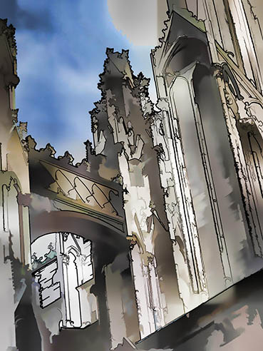 Spirits in the Cathedral, Cologne, Germanu, Karol Blumenthal, 11x14 Digital Art $225