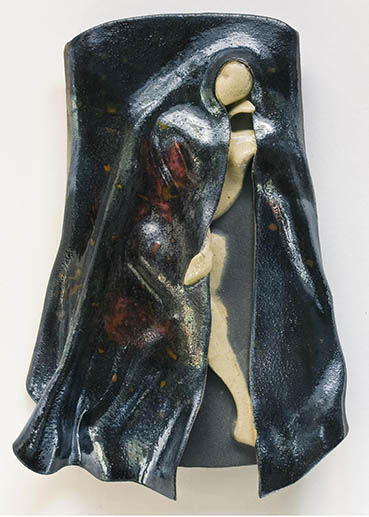 Stepping Into the Night, Ruth Petersen Shorer, 11x15x3 Raku $1,200
