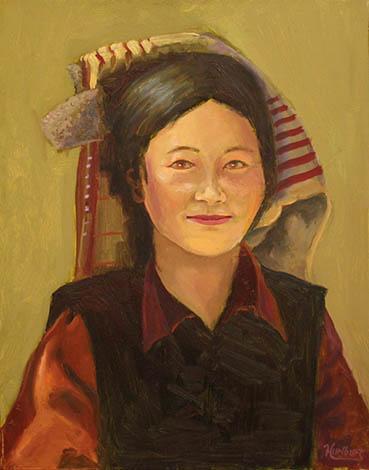 tibetan Woman, Walter Hurlburt, 16x20 Oil $1,200
