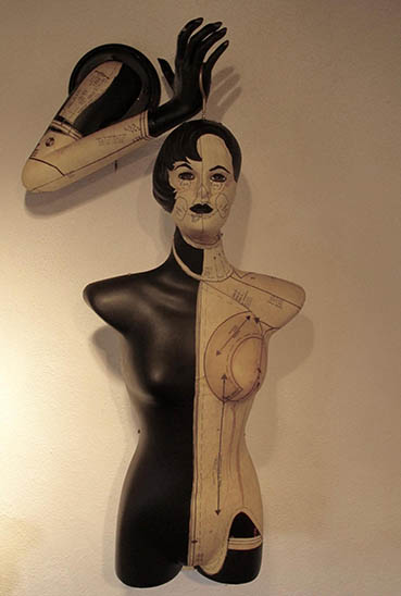 Witch's Hammer, Susan Melly, 18x38x14 fiberglass arm, plastic torso, acrylic, tissue dre $1,250