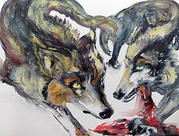 Wolf Series WwW7, Nela Steric, 25x19 Watercolor and Inks on Yupo Paper $600