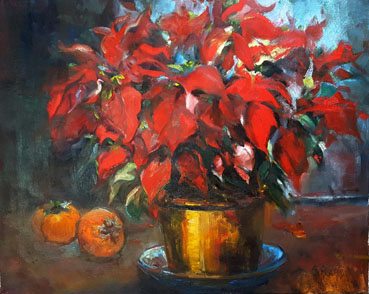 Poinsettia & Persimmon, Anna T. Kelly, 16x20 Oil $680