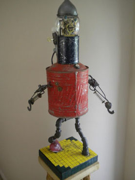 Brokenhearted, Tin Man Flees OZ, Jeffrey Comulada, 36x12x12 3D Assemblage $595