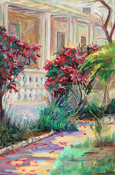 Gardens at Colton Hall, plein air, Marie Massey, 30x20 Oil $1,800