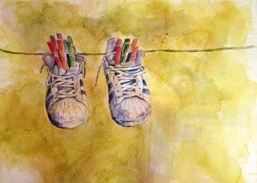 Hanging Out In Tuscany, Nancy Whitlock, 22x30 Watercolor $650