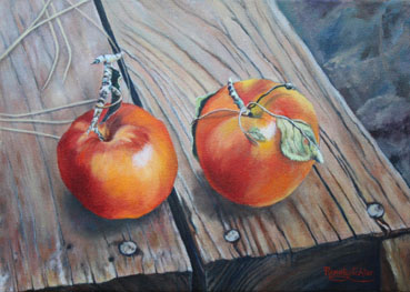 Last Harvest, Apples, Renate Lichter, 10x14 Oil $2,400