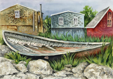 Nova Scotia's Peggy's Cove, Judy Heimlich, 18x26 Watercolor $1,200