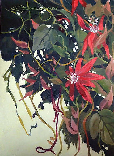 Red Passion Flower, Lynne Fearman, 12x9 Oil $775