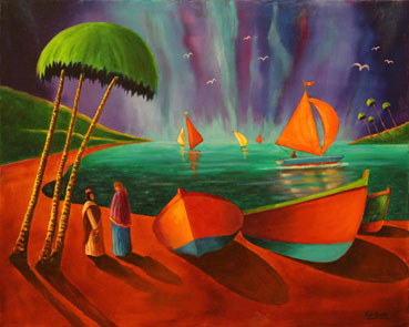 Red Sails, Walter Hurlburt, 18x24 Oil $1,950