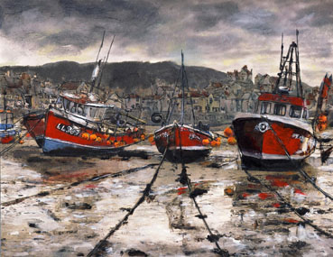 Staithes at Low Tide, Randy Sprout, 85x11 Pen & Ink with Acrylic on #140 Strathmore $750