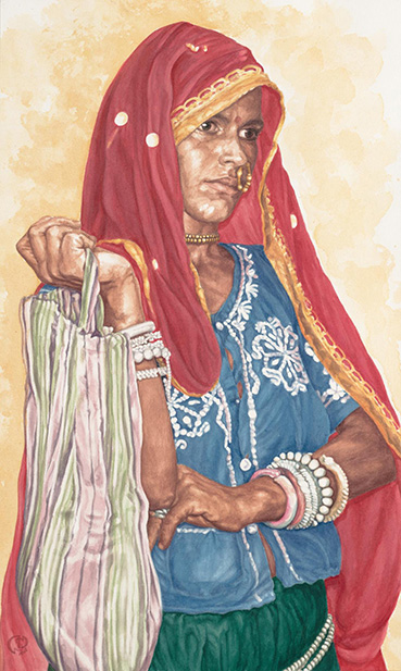 Woman of India, Natalie Smythe, 20x12 Transparent Watercolor $3,000