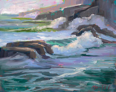 Big Sur Coastal plein air, Marie Massey, 8x10 Oil $475