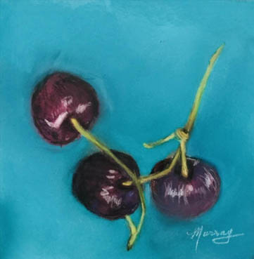 Black Cherries, Margie Murray, 6x6 Soft Pastel $300