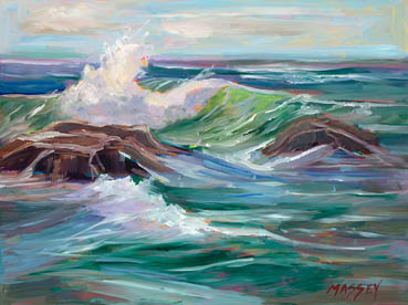 Crashing In, plein air, Marie Massey, 9x12 Oil $575