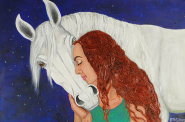 Equine Love, Robin M. Cohen, 24x36 Mixed Media $3,500
