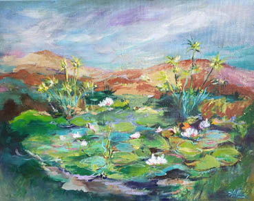 Lilies in the Pond, PHilleen Meskin, 16x20 Oil $500