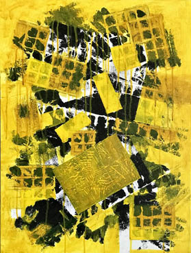 Mellow Yellow, Geoffrey Levitt, 18x24 Acrylic, Linocut Collage and Charcoal $850