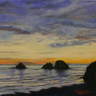 Oceanside's Fading Light, Renate Lichter, 10x10 Oil $1,400