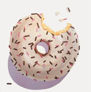 Pink and Mocha Sprinkle Donut, Terry Romero Paul, 36x36 Oil $3,200