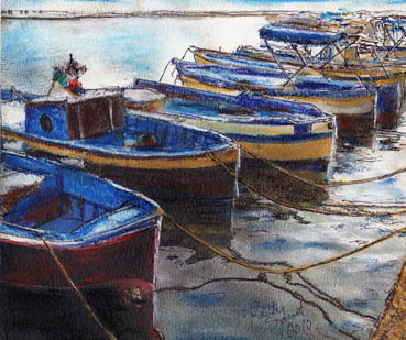 Procida Fishing Boats, Randy Sprout, 8x10 Soft Pastel $350