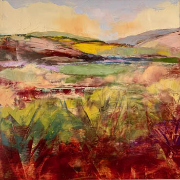 The Colors of Spring, Melanie Ferguson, 12x12 Oil with Cold Wax $336